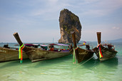Poda Island Long-tail Boats Andaman Sea Islands Thailand 8922