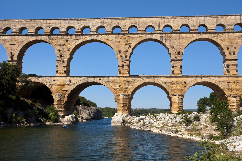 Gard River and Roman Aqueduct Bridge - Pont du Gard ...