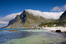 Beach Mountains Clouds Vikten Norway 9133