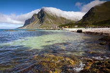 Beach Mountains Clouds Vikten Norway 9135