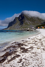 Beach Mountains Clouds Vikten Norway 9137